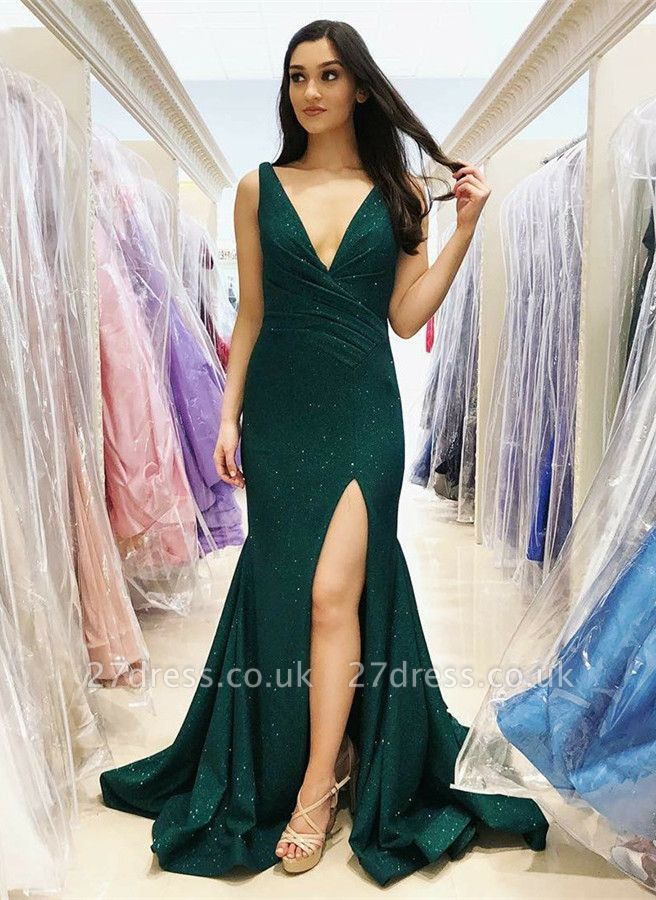 Sexy V-Neck Mermaid Prom Dress UK | Green Sequins Evening Gowns
