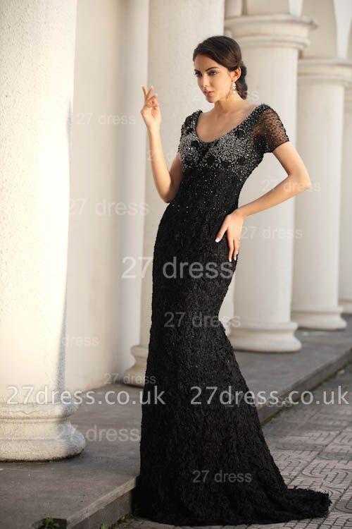 Black Scoop Lace Evening Dress UKes UK Short Sleeve Beadings Mermaid Prom Gowns