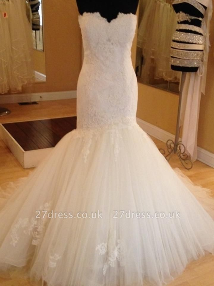 Elegant Sweetheart Lace Sexy Mermaid Wedding Dress Tulle Zipper Button Back
