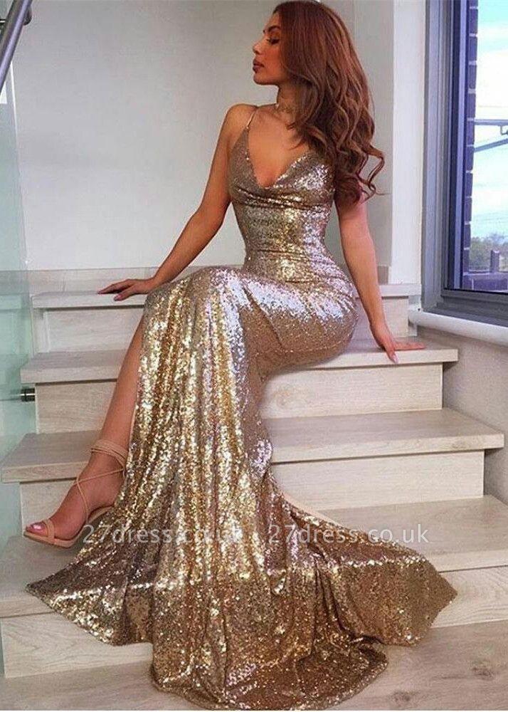 V-Neck Sequins Prom Dress UK | Mermaid Evening Dress UK With Slit