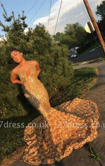 Elegant gold mermaid prom Dress UK, sequins evening party gowns BK0