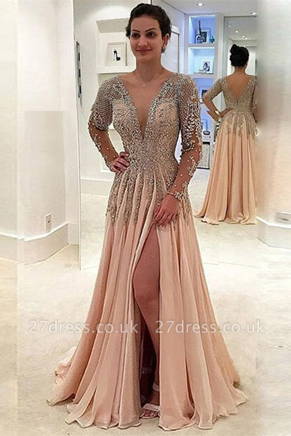 V-neck Long Sleeves Front Slit Floor Length Chiffon Evening Dresses