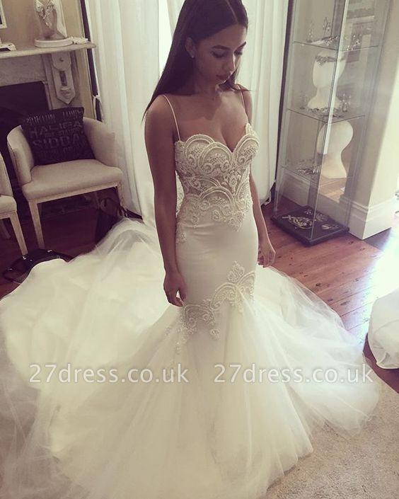Pretty Spaghetti Straps Sweetheart Wedding Dress Summer Sheath Tulle Cheap Bridal Gown