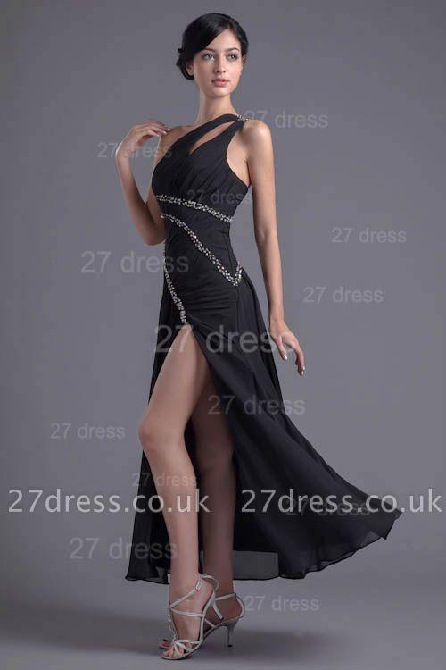 Elegant One Shoulder Chiffon Evening Dress UK Front Split Beadings