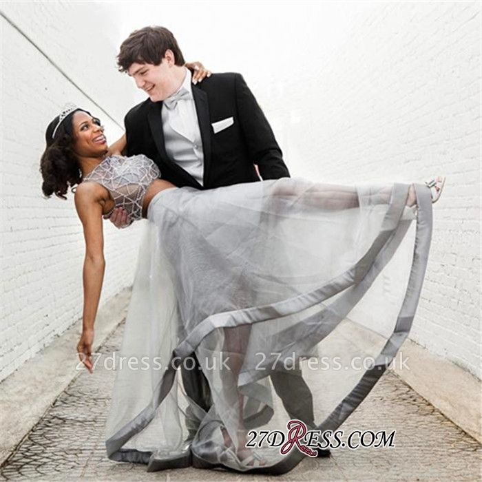 Two pieces prom Dress UK, silver evening gowns