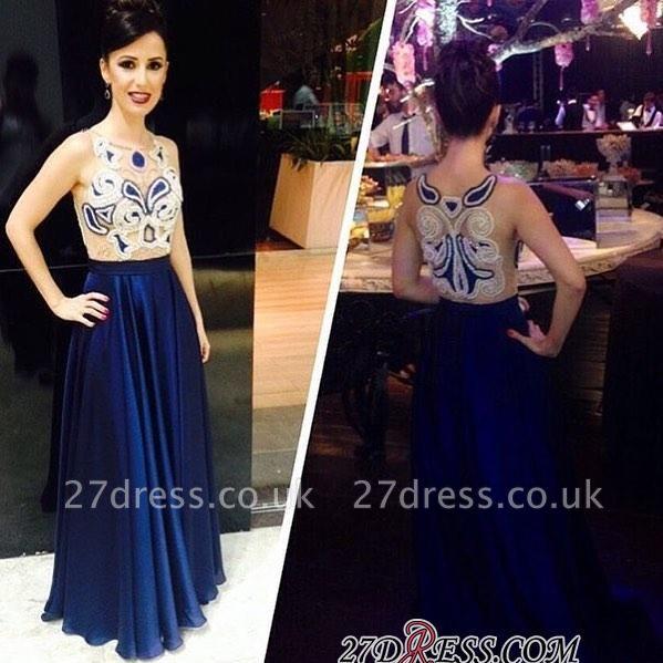 Dark-Navy Appliques Floor-length A-line Sleeveless Scoop Evening Dress UK