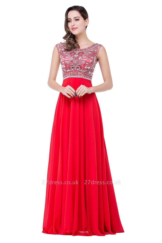 Elegant Red Long Crystal Beadings Prom Dress UK Chiffon
