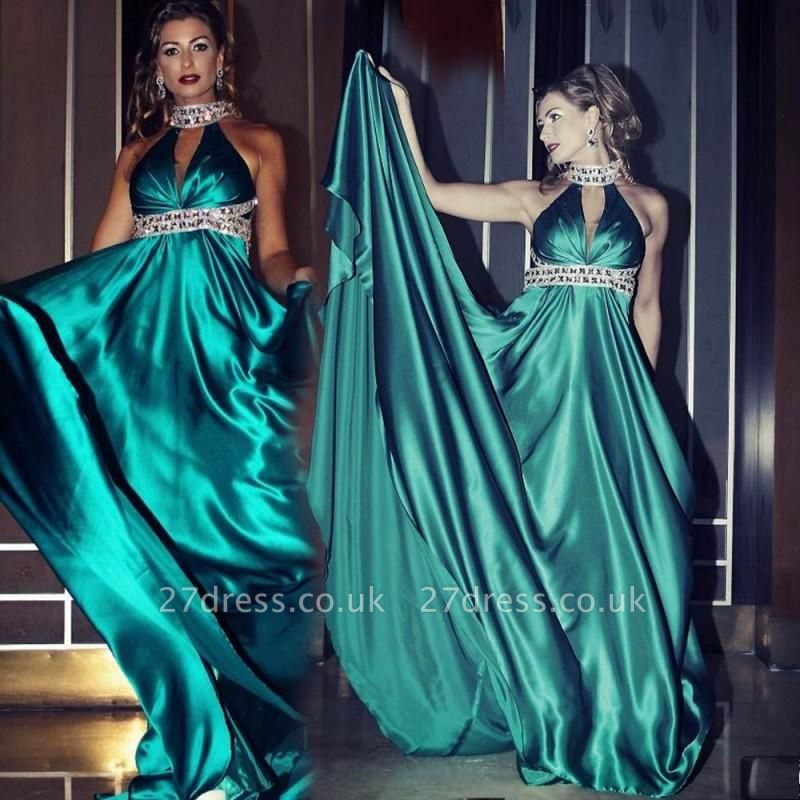 Gorgeous High Neck Sleeveless Prom Dress UK With Crystals
