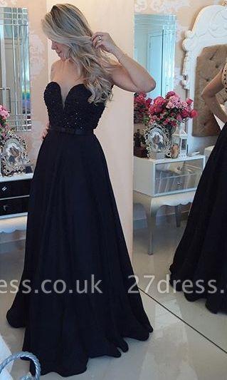 Elegant Chiffon Black A-line Prom Dress UK Zipper Button Back