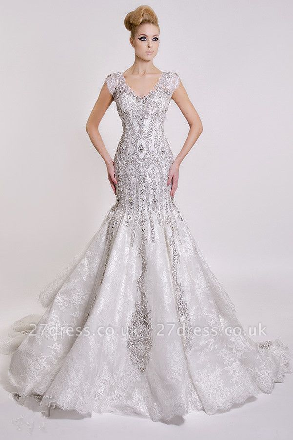 Luxurious V-Neck Wedding Dress Sexy Mermaid Crystals Lace