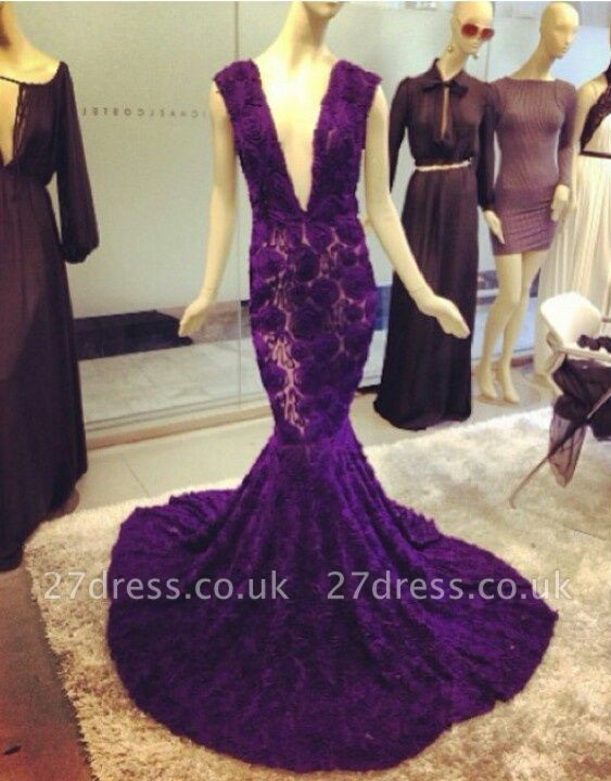 Modern Deep V-Neck Purple Prom Dress UKes UK Mermaid Lace Flowers