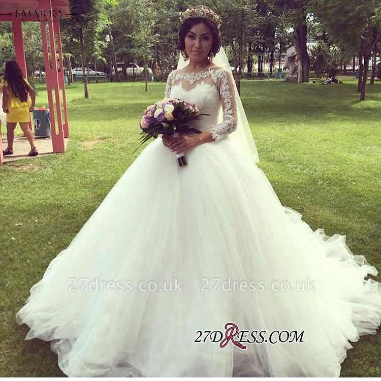 Ball-Gown Long-Sleeve Tulle Elegant Lace Princess Wedding Dress