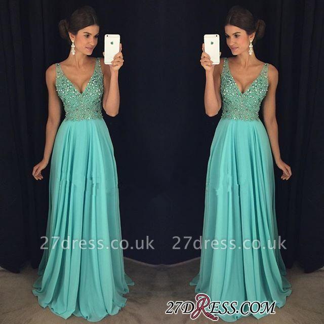 Long Beadings V-Neck Chiffon Sexy Prom Dress UK AP0