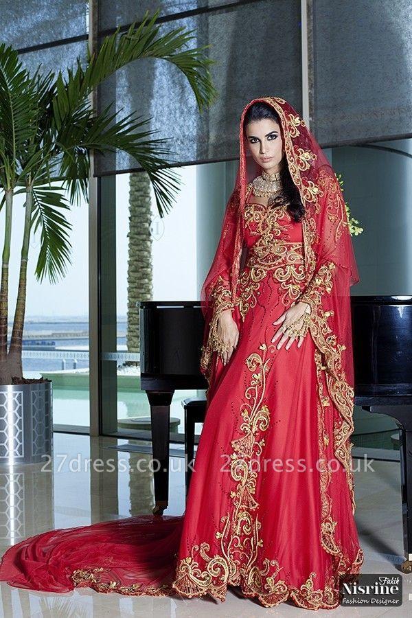Elegant Long Sleeve Red Arabic Wedding Dress With Appliques
