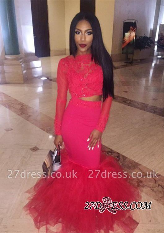 Mermaid Jewel Lace Red Tulle Long-Sleeve Elegant Prom Dress UK BK0 BA5411