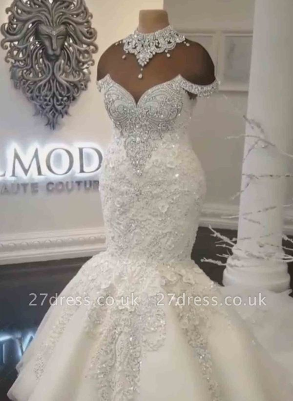 Glamorous Crystals  Sexy Mermaid Wedding Dresses UK | Off-the-Shoulder Appliques Bridal Gowns