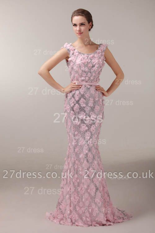 Pink Mermaid Prom Gowns Sash Bowknot Evening Dress UKes UK with Beadings