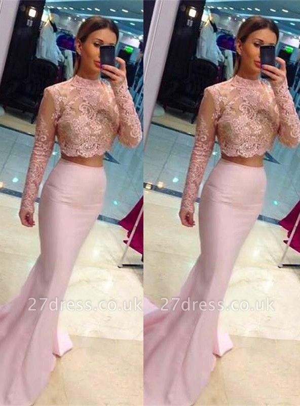 Elegant High Neck Lace Appliques Pink Prom Dress UK Mermaid Two Piece