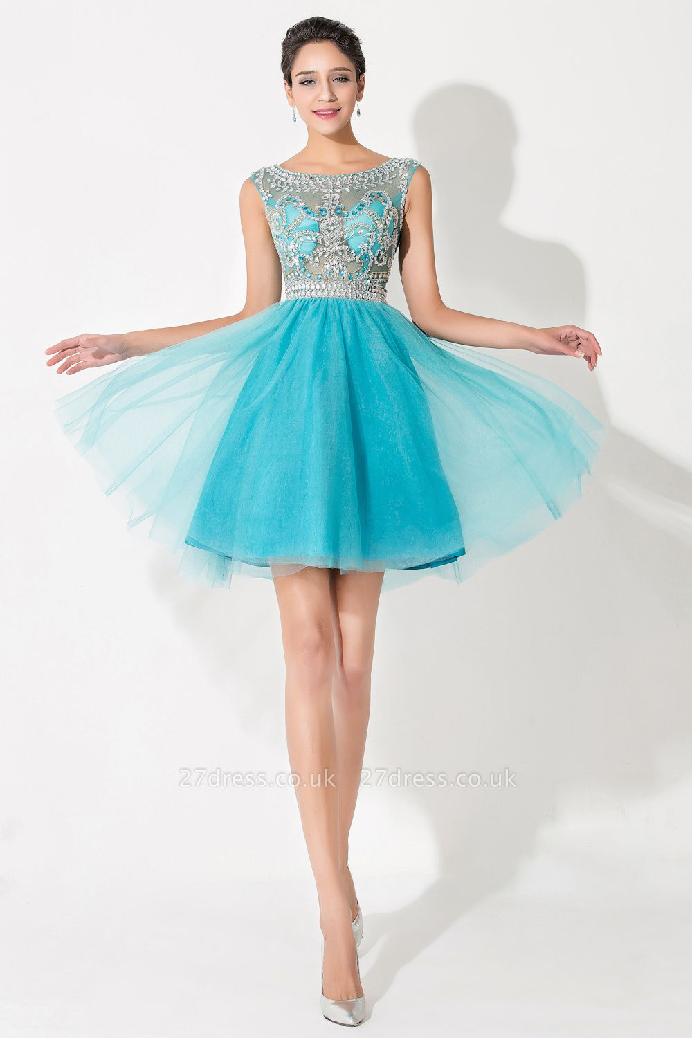 Modern Illusion Cap Sleeve Tulle Homecoming Dress UK With Crystals