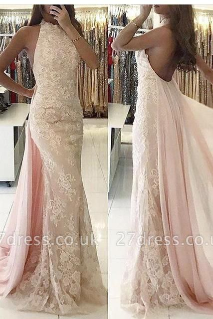 Gorgeous Sleeveless Backless Evening Dress UK Lace Ruffles Party Gowns