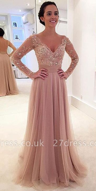 Sexy Long Sleeve Lace Appliques Evening Dress UK Tulle Detachable