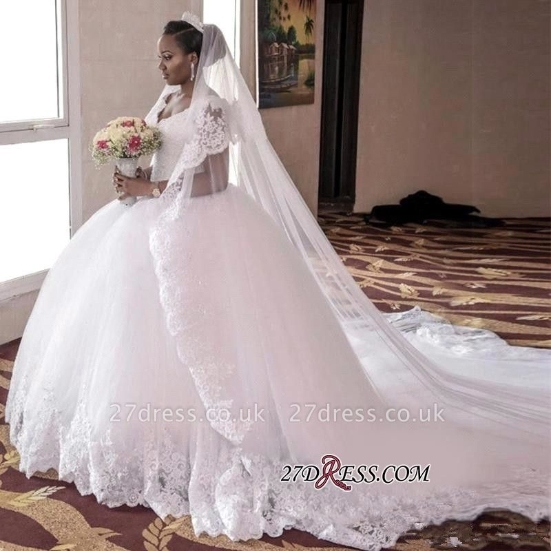 Cap-Sleeve Ball-Gown Tulle Lace-Appliques Long Gorgeous Wedding Dress