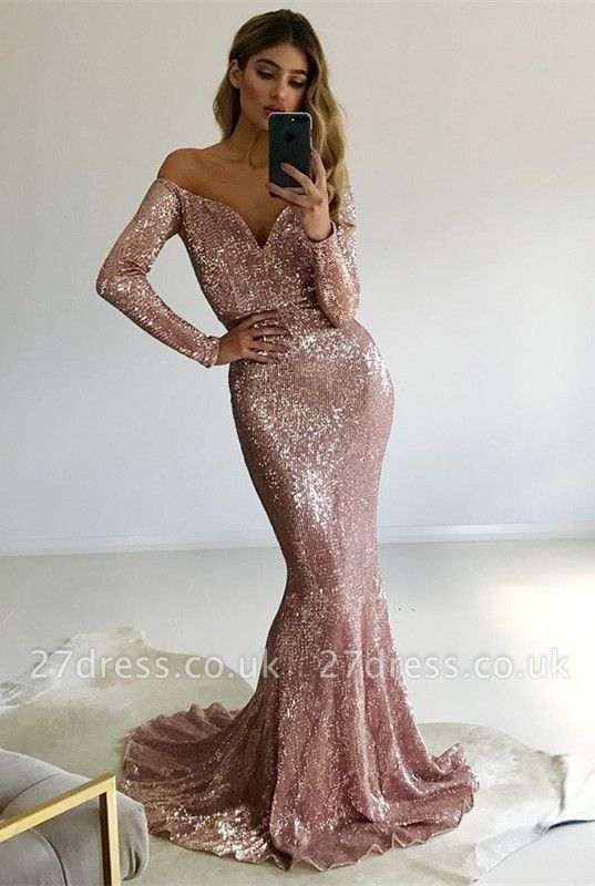 Luxury Long-Sleeve V-Neck Prom Dress UK | Mermaid Sequins Evening Gowns