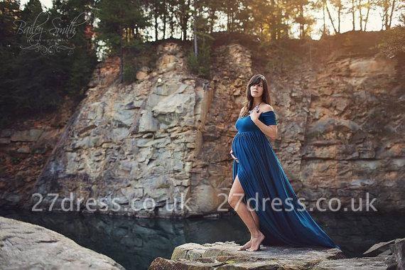Elegant Maternity Front-Split Sweep-Train A-line Off-the-shoulder Prom Dress UK