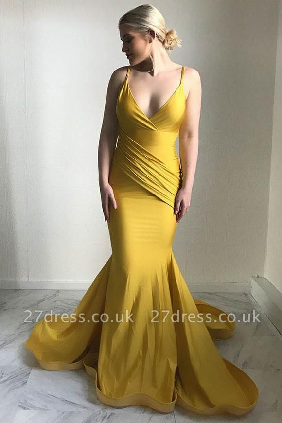 Sexy V-Neck Evening Dress UK | 2019 Mermaid Yellow Prom Dress UK