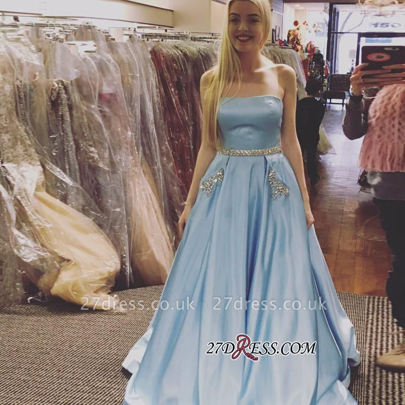 Sleeveless A-line Newest Crystals Sky-Blue Strapless Prom Dress UK