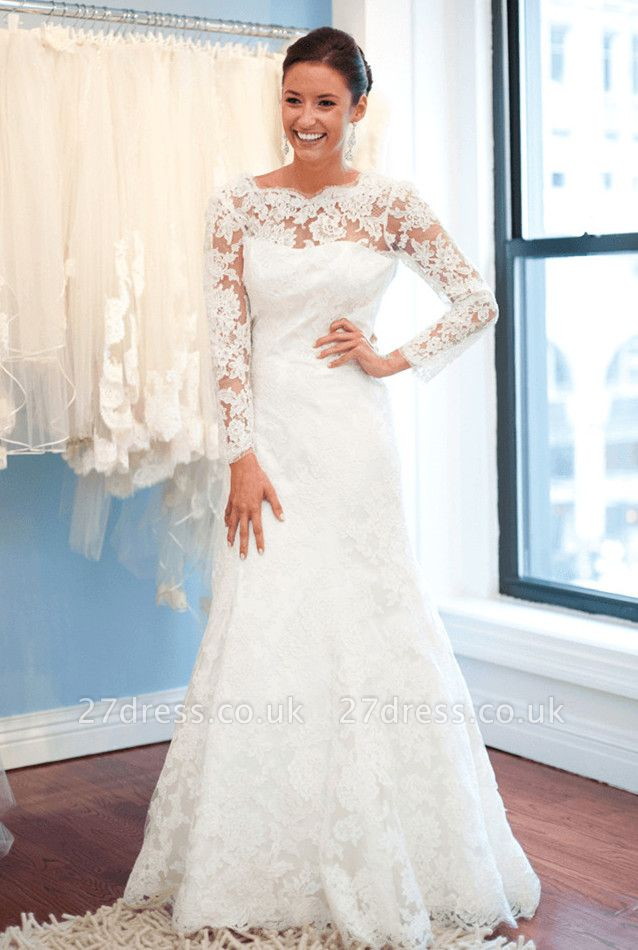 Elegant Lace Long Sleeve Wedding Dress White Sweep Train