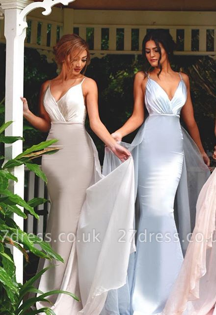 Timeless Spaghetti Straps V-Neck Bridesmaid Dress UK Long Ruffles Mermaid