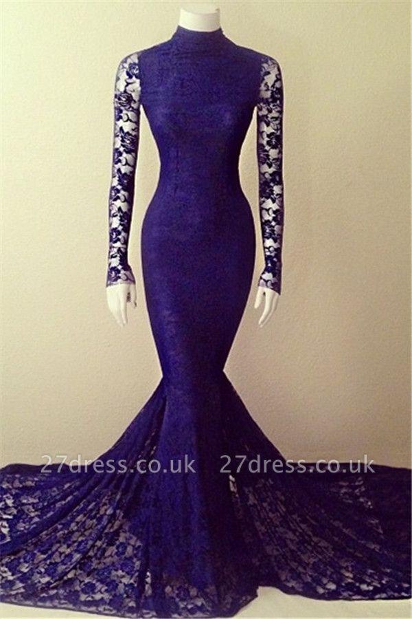 Sexy Long Sleeve Lace Evening Dress UKes UK Lace Mermaid