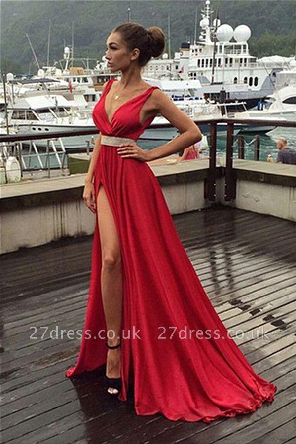 Elegant Red V-Neck Sleeveless prom Dress UK Long With Front SPlit BA3374
