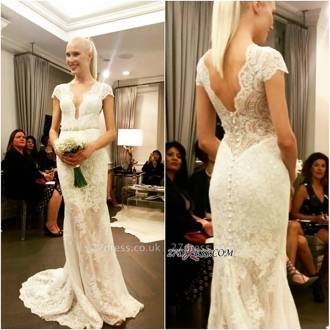 Cap-Sleeve Button Elegant Designer Floor-Length Lace Wedding Dress