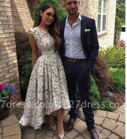 Capped-Sleeves Sheer A-line Hi-Lo Flower-Print White Prom Dress UKes UK