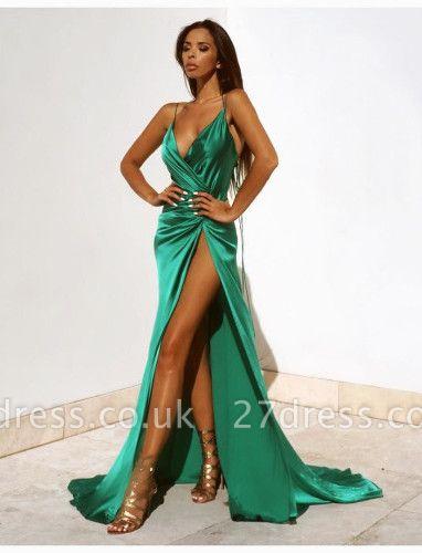 Elegant Green V-Neck Prom Dress UKes UK Floor Length With Split BK0