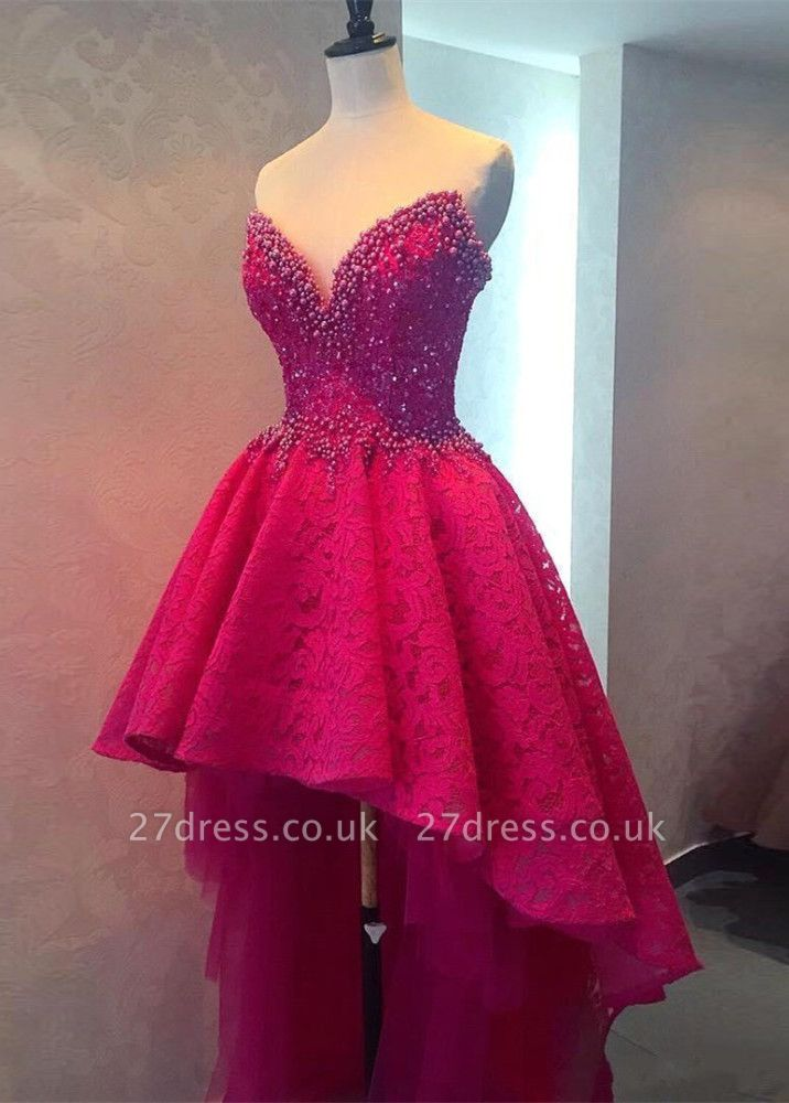 Hi-lo Lace Gorgeous Beadings Sweetheart Homecoming Dress UK
