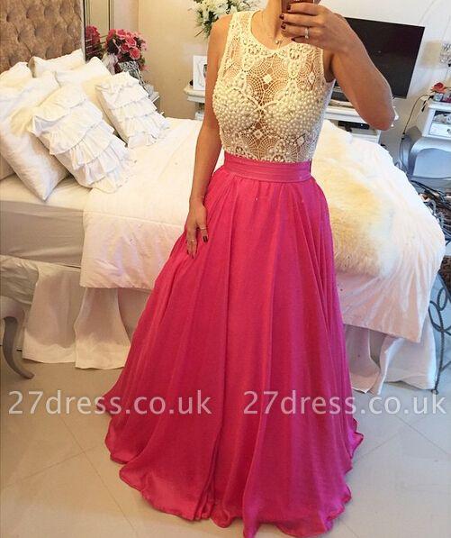 Dramatic Jewel Sleeveless A-line Prom Dress UK Pearls Floor-length BT0