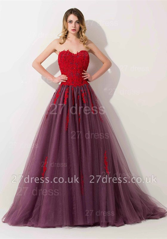 Delicate Lace Appliques Sweetheart Evening Dress UK Sweep Train