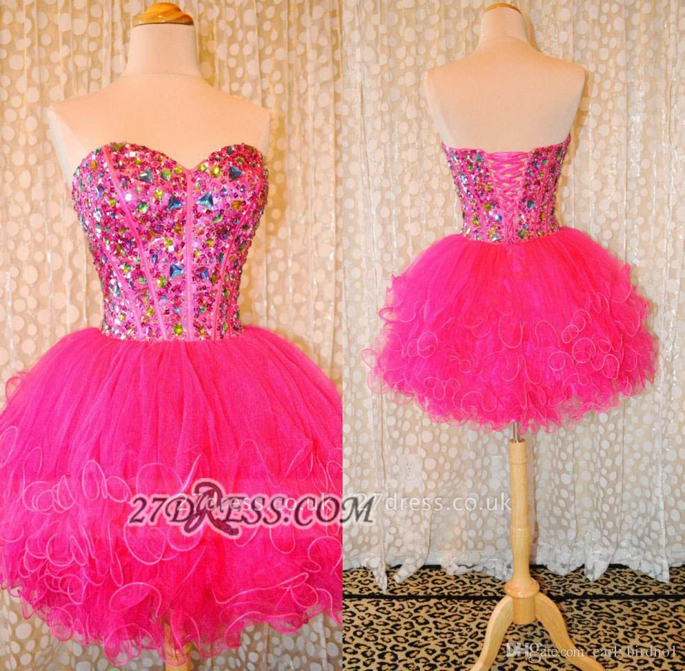 Lovely Sweetheart Sleeveless Short Homecoming Dress UK Beadings Crystals Lace-up Ruffles Cocktail Gown