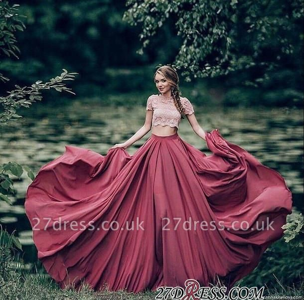 Gorgeous Two Pieces Lace Prom Dress UK Long SHort Sleeve Party Dress UK