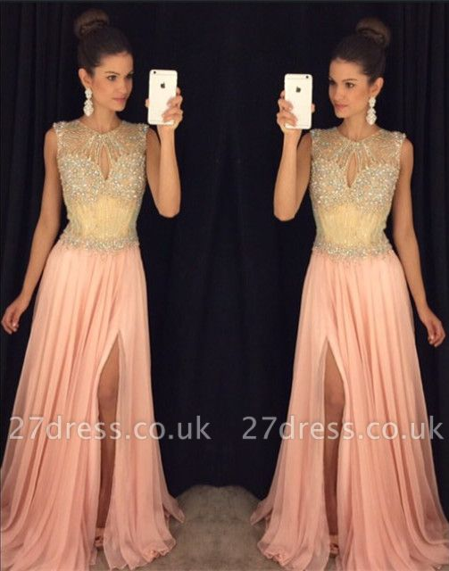 Delicate Beadings Chiffon Illusion Prom Dress UK Front Split Sleeveless AP0