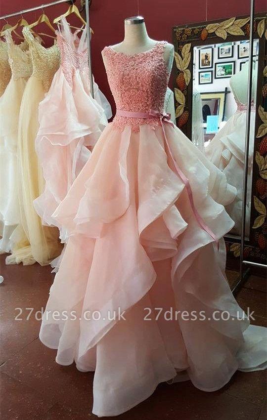 Elegant Ruffles Lace Appliques Prom Dress UK Pearl Pink Bow
