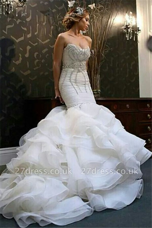 New Arrival  Sexy Mermaid Sweetheart Wedding Dreses Crystal Ruffles Bridal Gowns