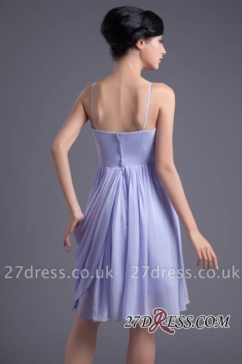 Sexy Online Ruffles Short Lavender Chiffon Spaghetti-Straps Bridesmaid Dress UKes UK