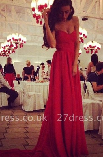 Elegant red sweetheart long chiffon prom Dress UK on sale