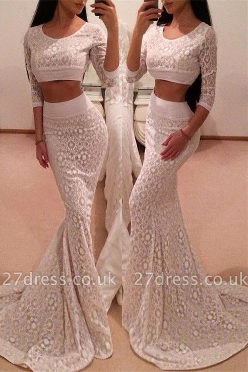 Hot 3/4 Sleeve Lace Prom Dress UK Two Pieces Mermaid Long