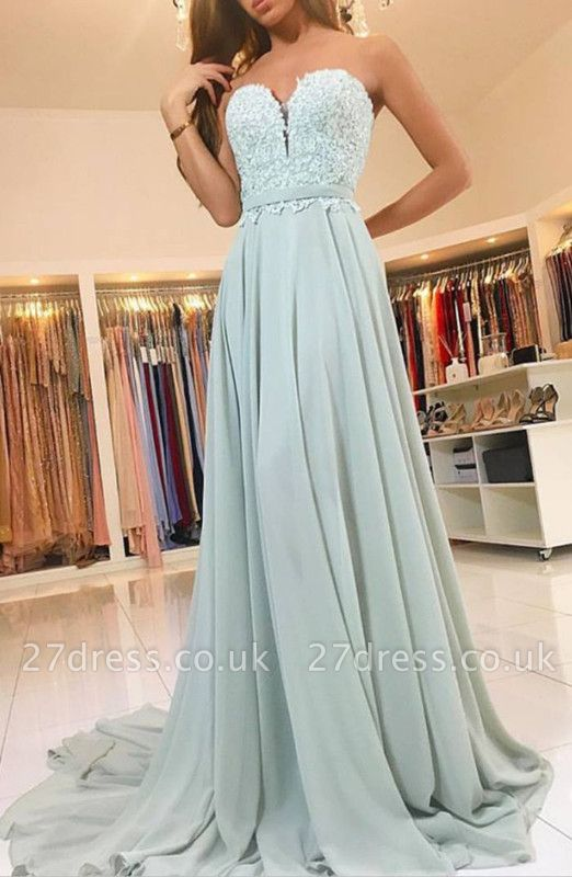 Sexy Sweetheart Lace Evening Dress UK Long Chiffon Prom Dress UK
