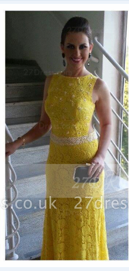 Floor-length Sheath Prom Dress UKes UK Evening Gowns with Yellow Lace Appliques Pearls Jewel Sleeveless Sequins